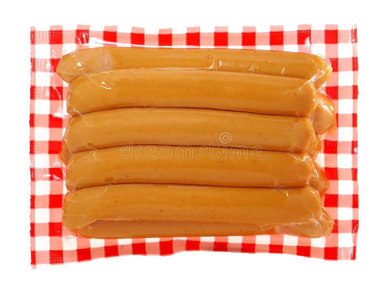 Vácuo das salsichas de salsicha tipo frankfurter - empacotado fotografia de stock