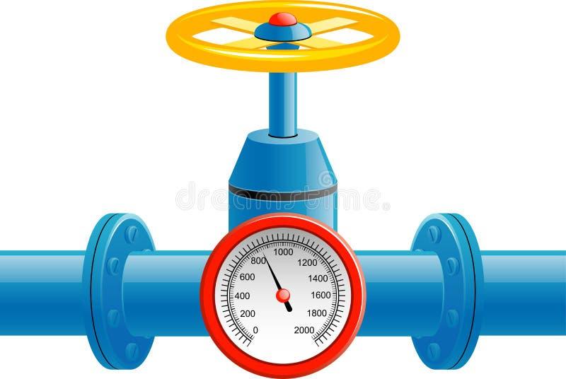 Válvula da tubulação de gás e medidor da pressão ilustração royalty free