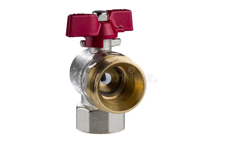 Válvula de bola de canto de bronze no branco foto de stock