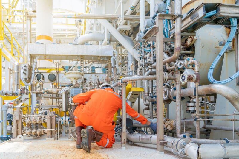 Válvula de control de control de la válvula de control del gas de foca y del sistema de aceite de lubricante del compresor y turb imagenes de archivo