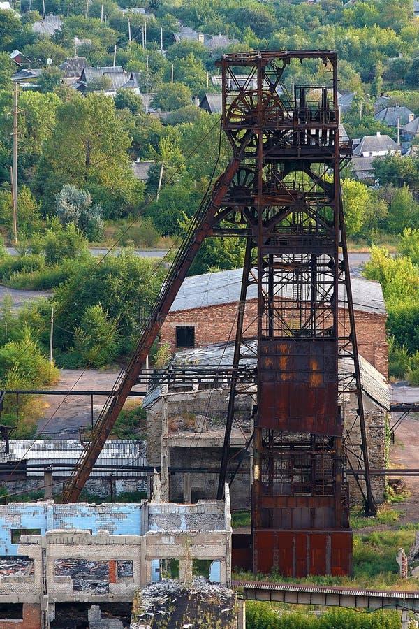 Válvula de disco con movimiento vertical en una mina de carbón fotografía de archivo