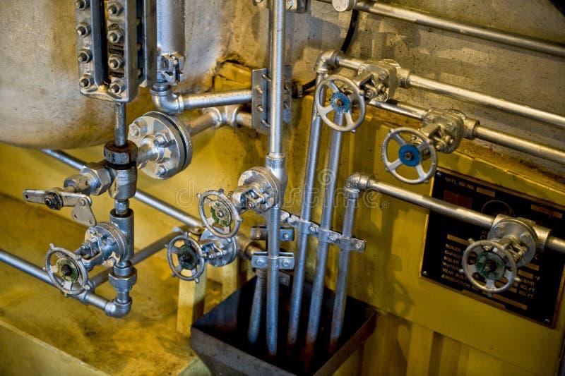 Válvulas da caldeira do motor de vapor fotos de stock