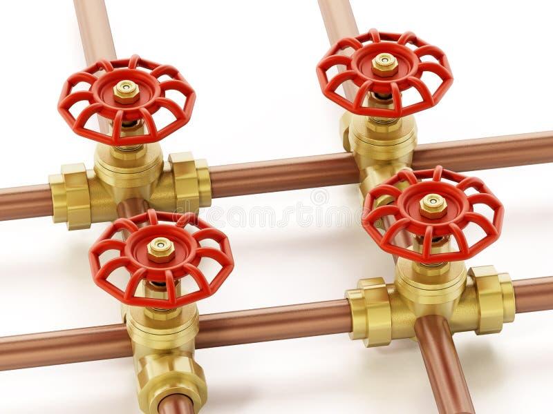 Válvulas de bronze e tubulações da água isoladas no fundo branco ilustra??o 3D ilustração stock