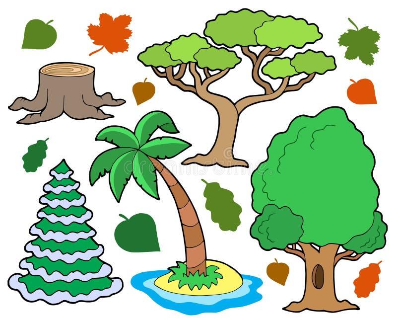 Vária coleção 1 das árvores ilustração stock