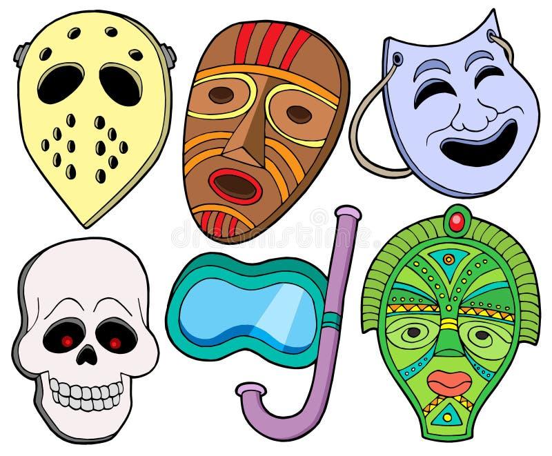 Vária coleção 1 das máscaras ilustração stock