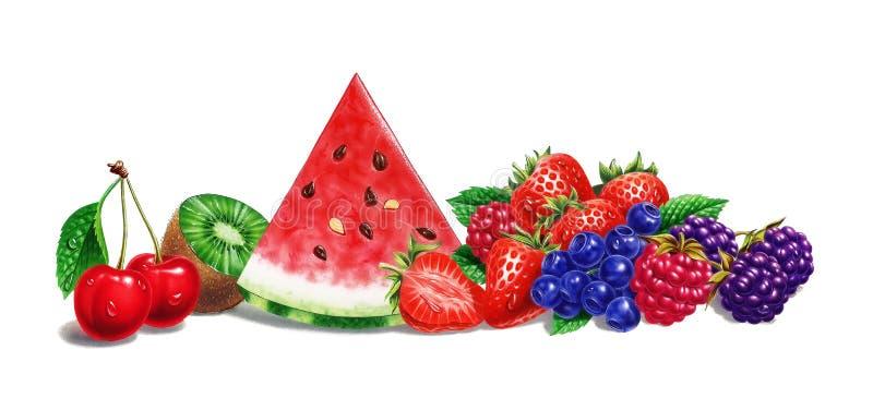 Vária composição do fruto, no fundo branco. Ilustração do aerógrafo. fotografia de stock