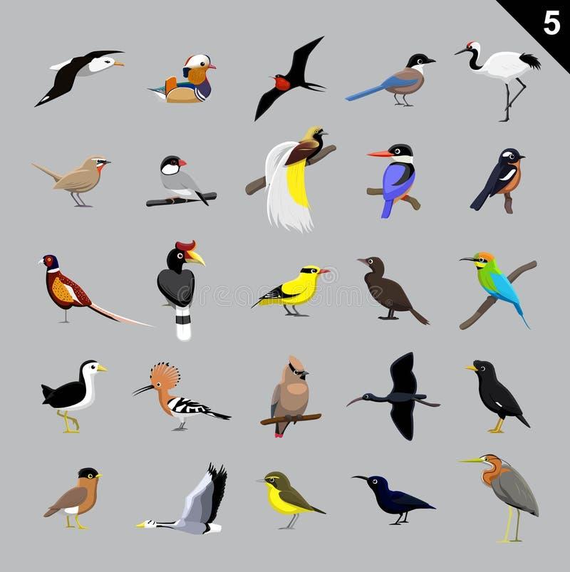 Vária ilustração 5 do vetor dos desenhos animados dos pássaros ilustração stock