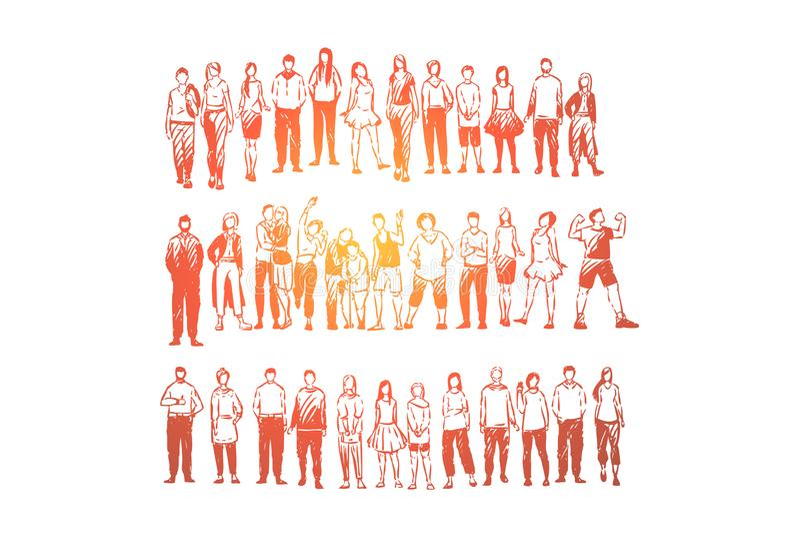Vária posição dos povos nos pares dos grupos, os novos e os velhos, amigos na roupa ocasional e formal ilustração do vetor