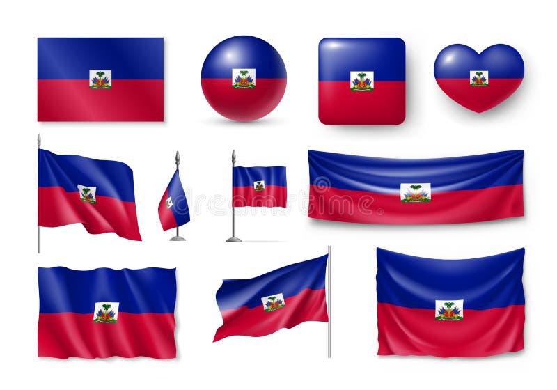 Várias bandeiras do país caribenho de Haiti ilustração royalty free