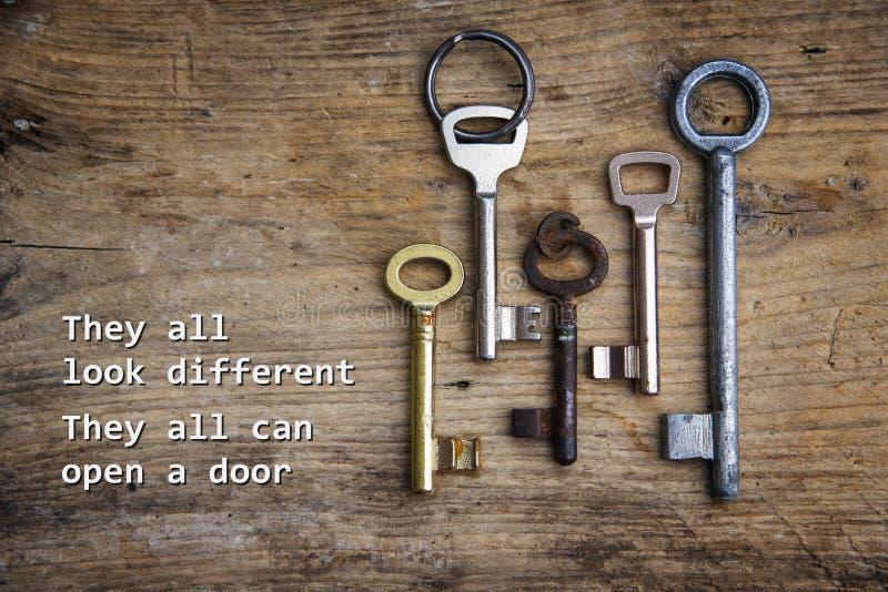 Várias chaves em uma placa de madeira rústica, conceito para a integração o foto de stock