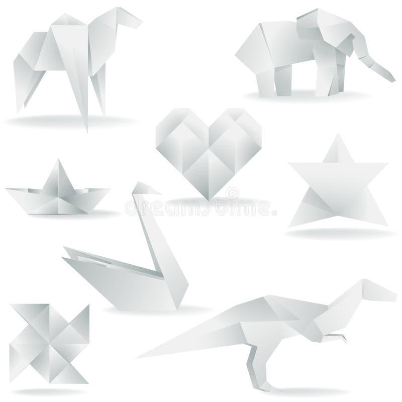 Várias criações de Origami ilustração royalty free
