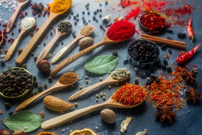 Várias especiarias indianas em colheres e bacias de madeira do metal, sementes, ervas e porcas fotografia de stock