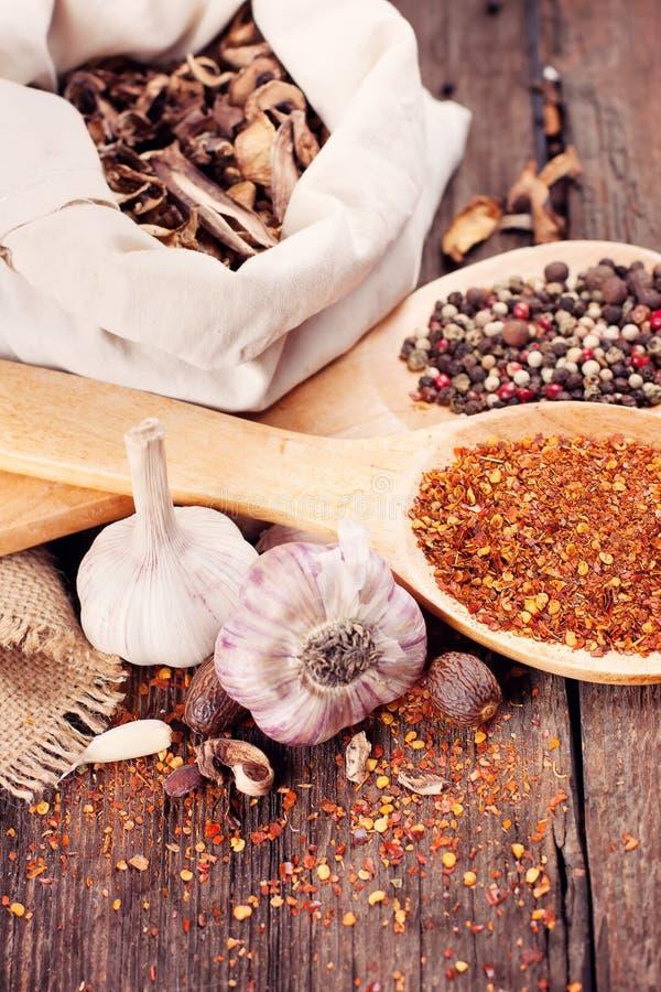 Várias especiarias para cozinhar fotografia de stock