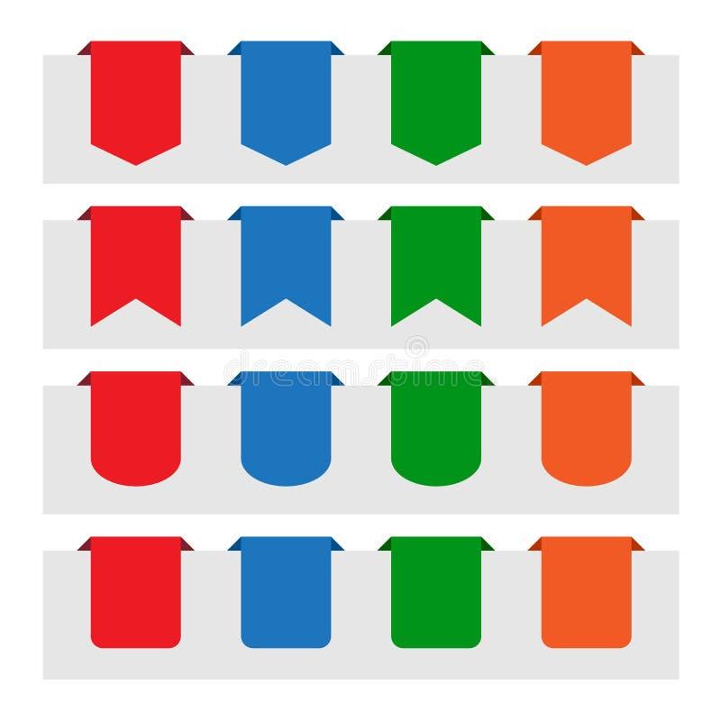 Várias etiquetas de papel da etiqueta ilustração stock