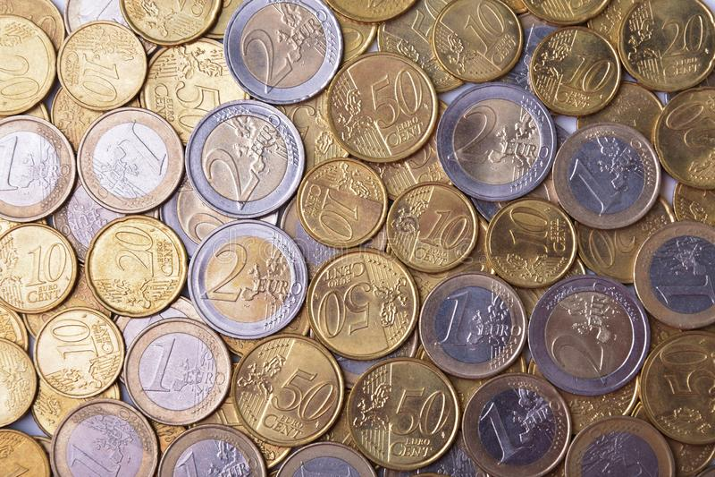 Várias euro- moedas foto de stock royalty free