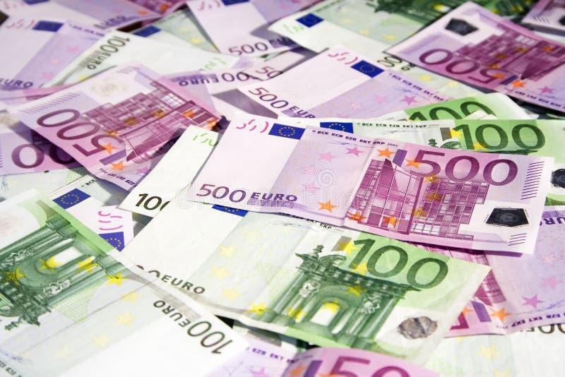 Várias euro- notas de banco imagens de stock