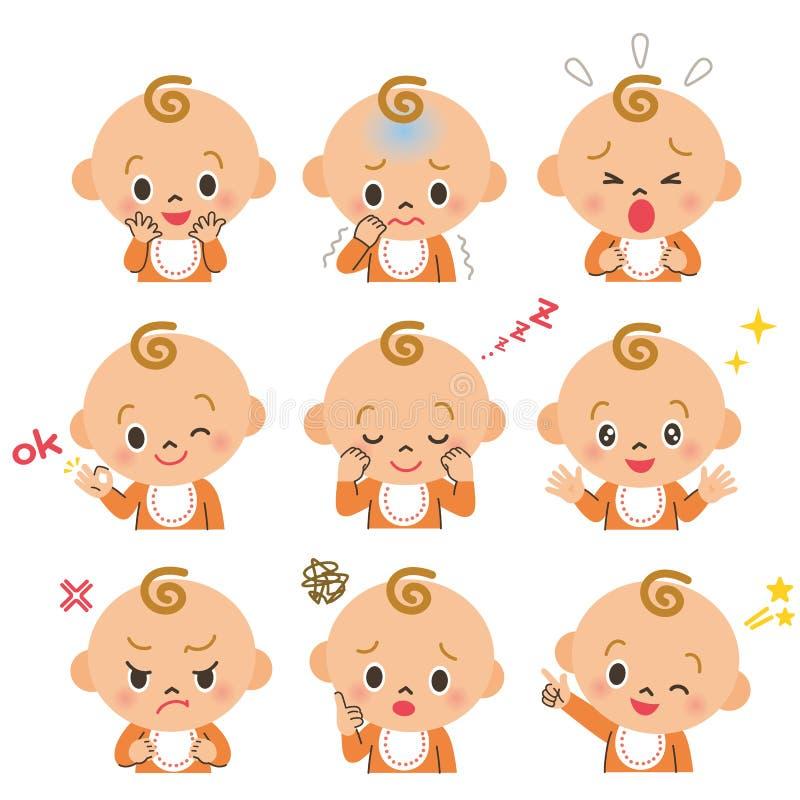 Várias expressões do bebê ilustração do vetor