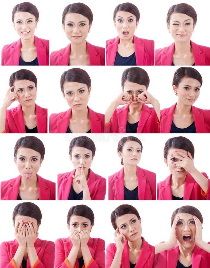 Várias expressões do rosto humano imagens de stock royalty free
