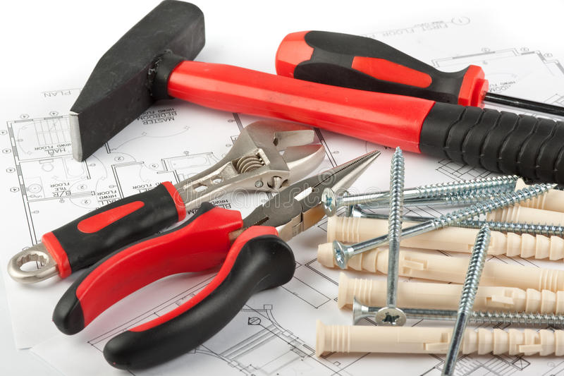 Download Várias Ferramentas Da Construção Imagem de Stock - Imagem de disposição, passador: 10064331