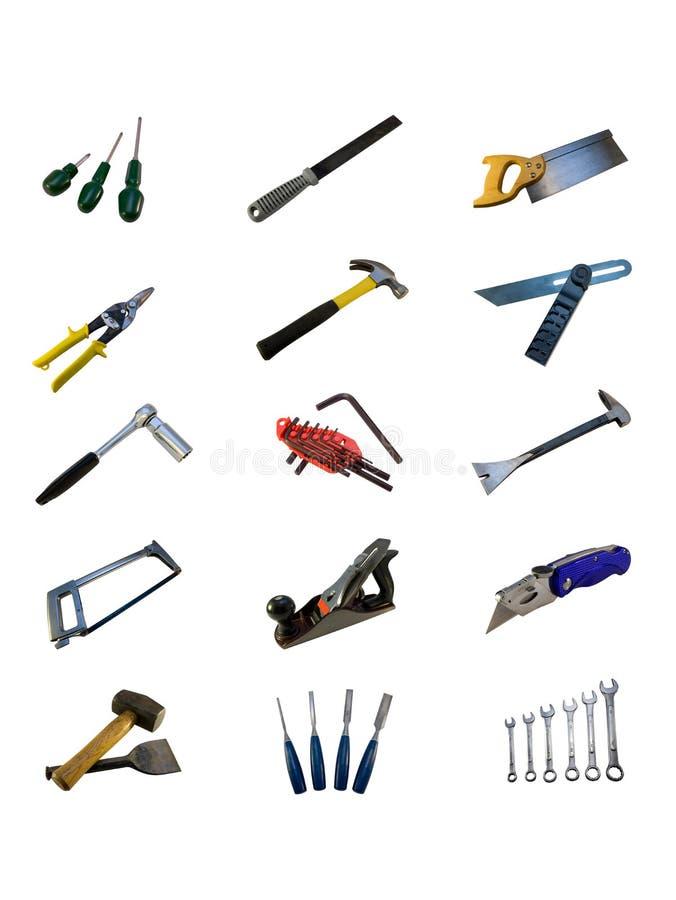 Várias ferramentas da mão isoladas em um fundo branco imagem de stock