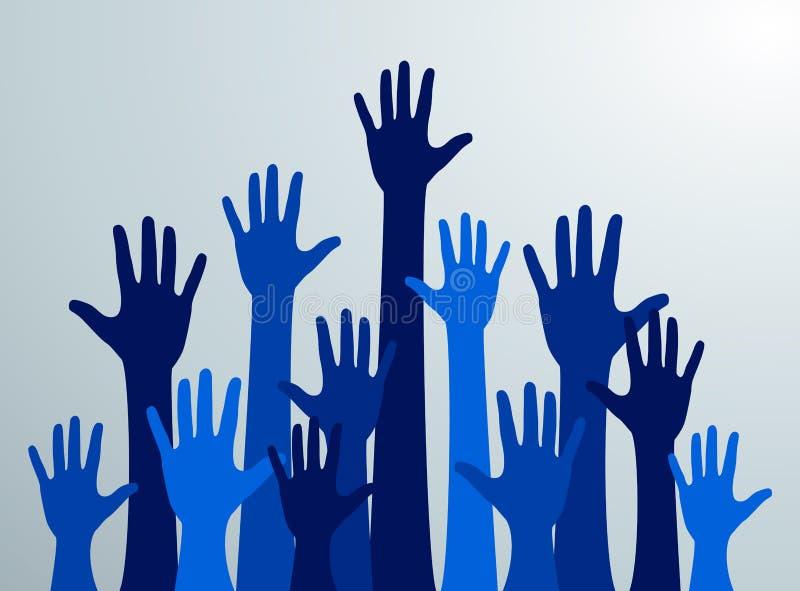 Várias mãos levantadas acima no ar As mãos de muitos povos azuis acima Vetor ilustração do vetor
