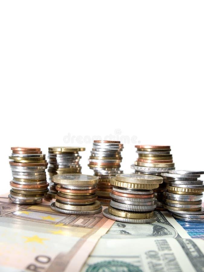 Várias moedas do dinheiro fotografia de stock royalty free