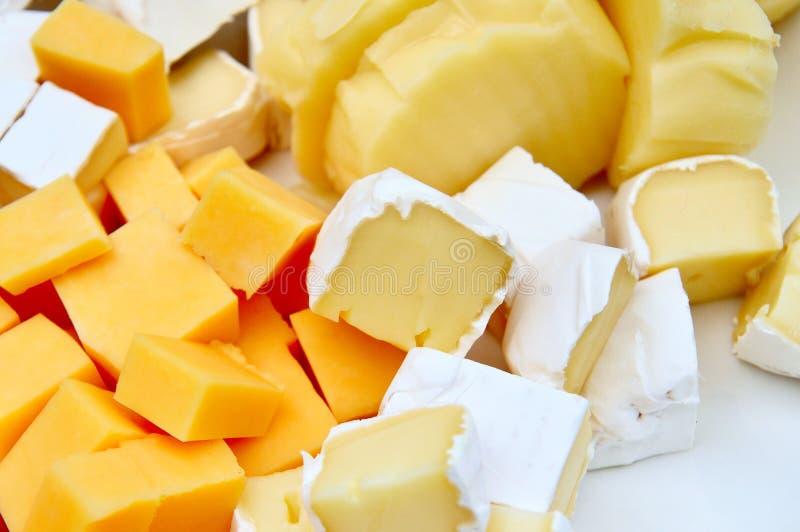 Várias partes de queijo fotografia de stock royalty free