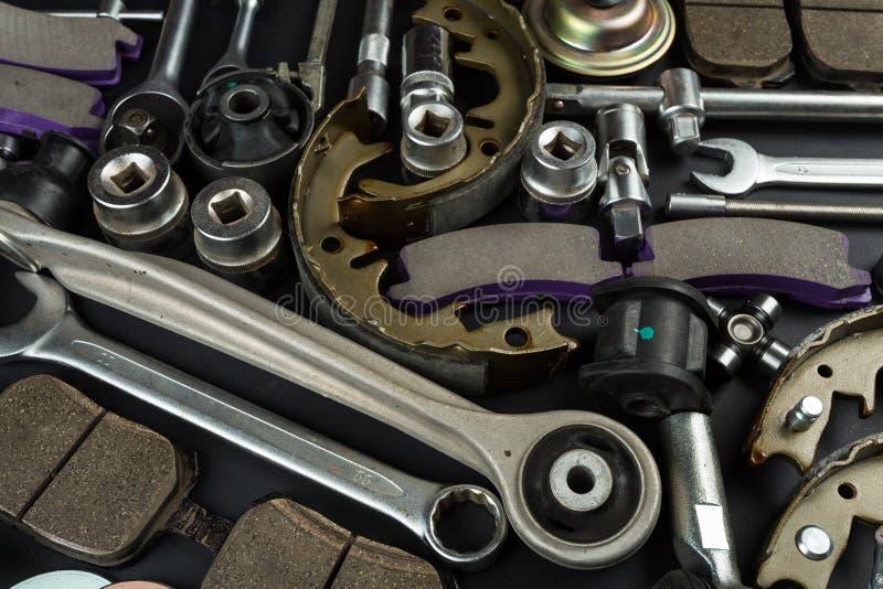 Várias peças e ferramentas do carro foto de stock royalty free