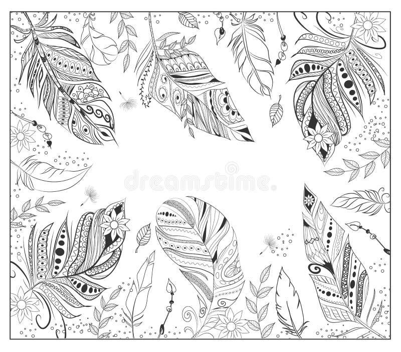 Várias penas estilizados para a página colorindo ilustração do vetor