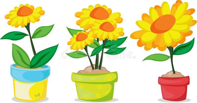 Várias plantas de potenciômetro ilustração royalty free
