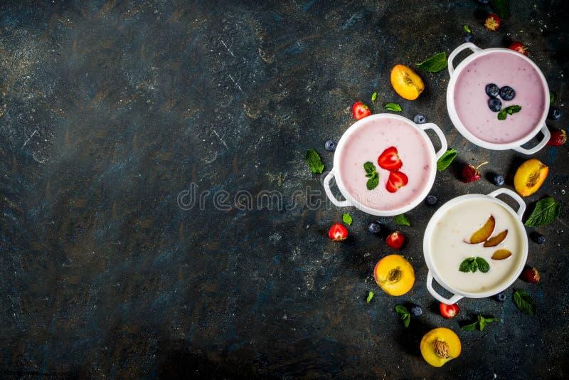 Várias sopas cremosas doces do fruto & da baga - morango, pêssego, bl imagens de stock royalty free