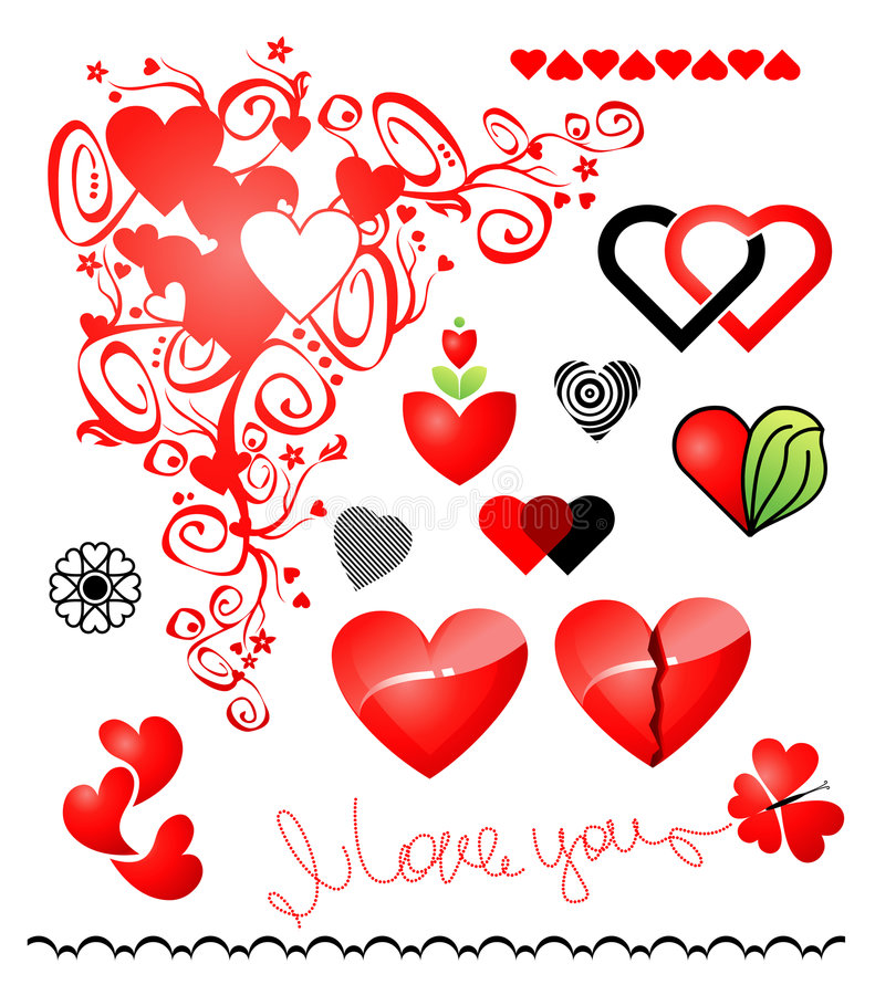Várias variações do ícone dos corações ilustração royalty free