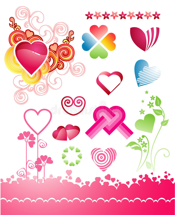 Várias variações dos corações ilustração royalty free