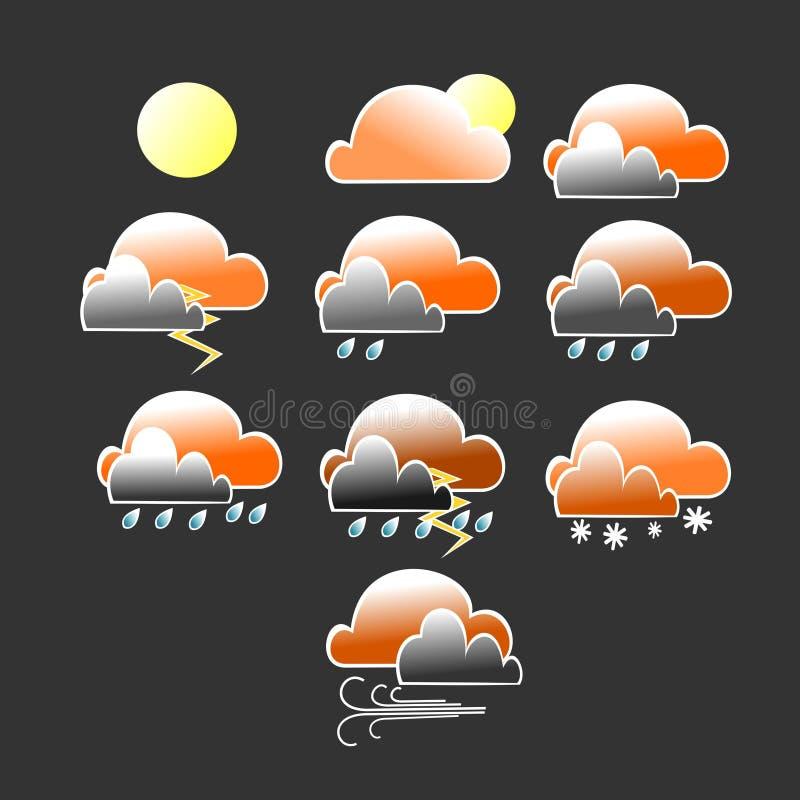 Vário ícone das condições meteorológicas com a nuvem alaranjada e cinzenta ilustração royalty free