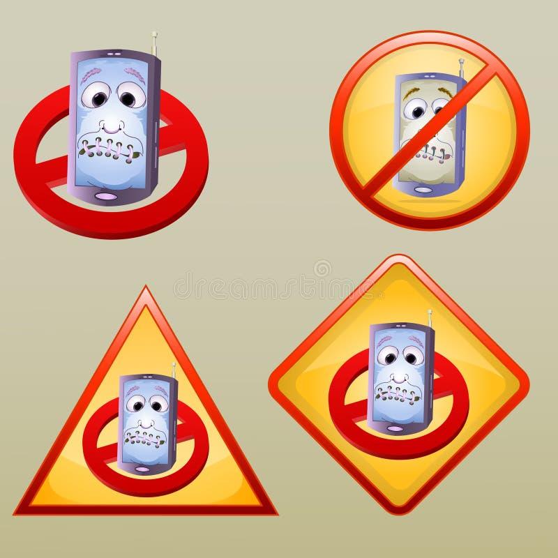 Vário desligue o ícone/símbolo do telefone da mão ilustração stock