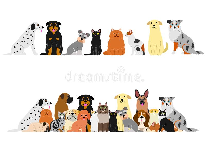 Vário grupo da beira dos gatos e dos cães ilustração royalty free