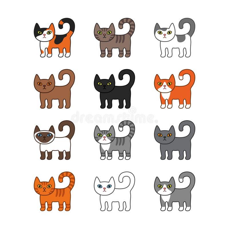 Vário grupo dos gatos Ilustração bonito e engraçada do vetor do gato da vaquinha dos desenhos animados ajustada com raças diferen ilustração stock
