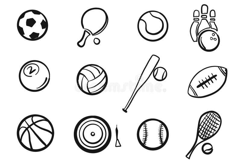 Vário grupo esboçado das bolas material desportivo ilustração royalty free