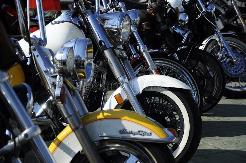 Vário modelo do estacionamento fácil da motocicleta do cavaleiro de Harley Davidson na zona aberta fotografia de stock royalty free