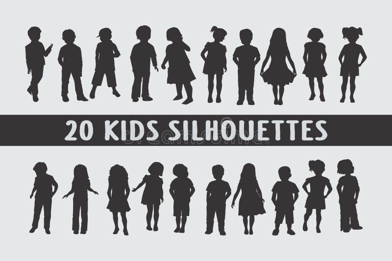 Vário projeto de 20 silhuetas das crianças das crianças fotos de stock