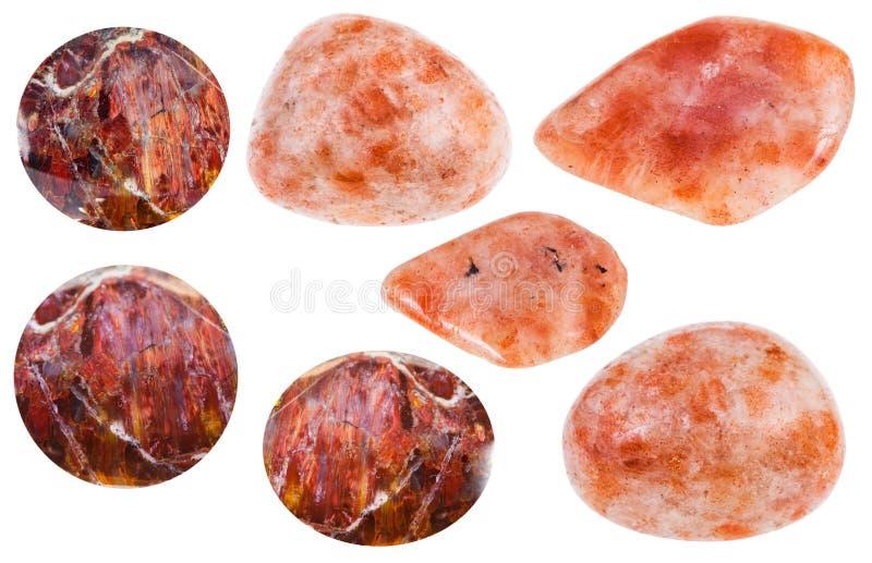 Vário sunstone de Andesine, pedras preciosas do heliolite fotografia de stock royalty free