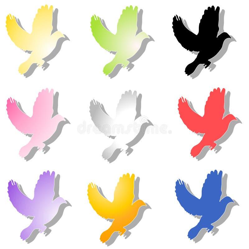 Vário voo colorido dos pássaros ilustração royalty free