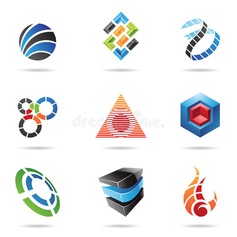Vários ícones abstratos coloridos, jogo 11 ilustração do vetor