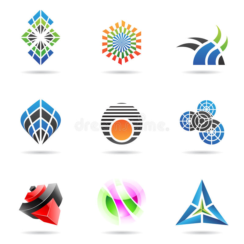 Vários ícones abstratos coloridos, jogo 17 ilustração stock