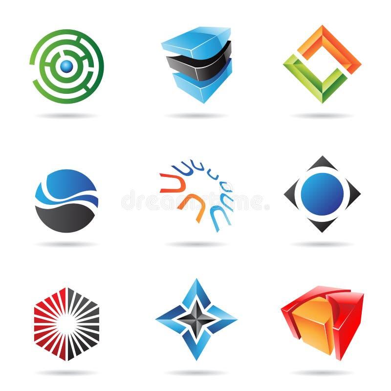 Vários ícones abstratos coloridos, jogo 18 ilustração do vetor