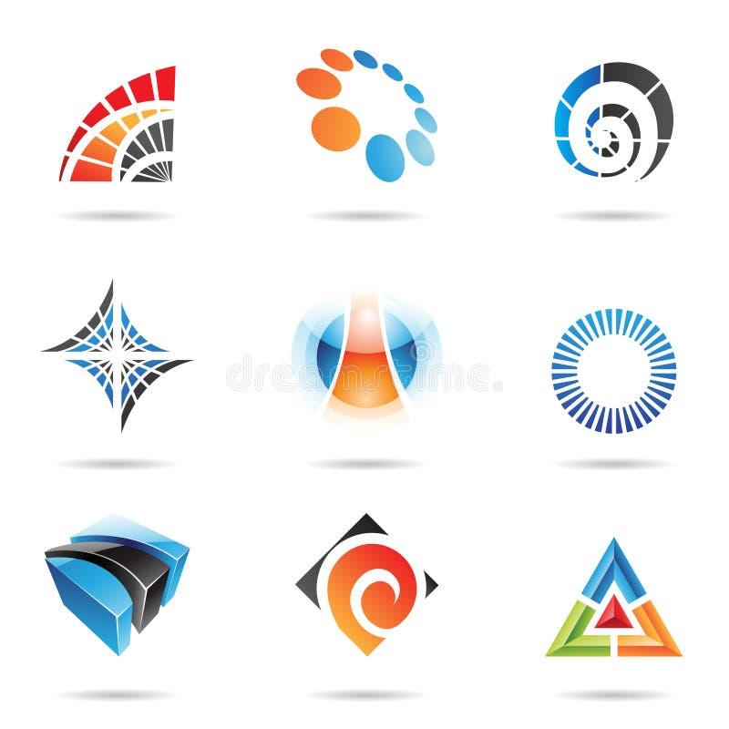 Vários ícones abstratos coloridos, jogo 5 ilustração do vetor