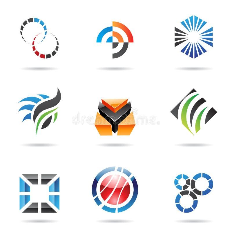 Vários ícones abstratos coloridos, jogo 9 ilustração do vetor