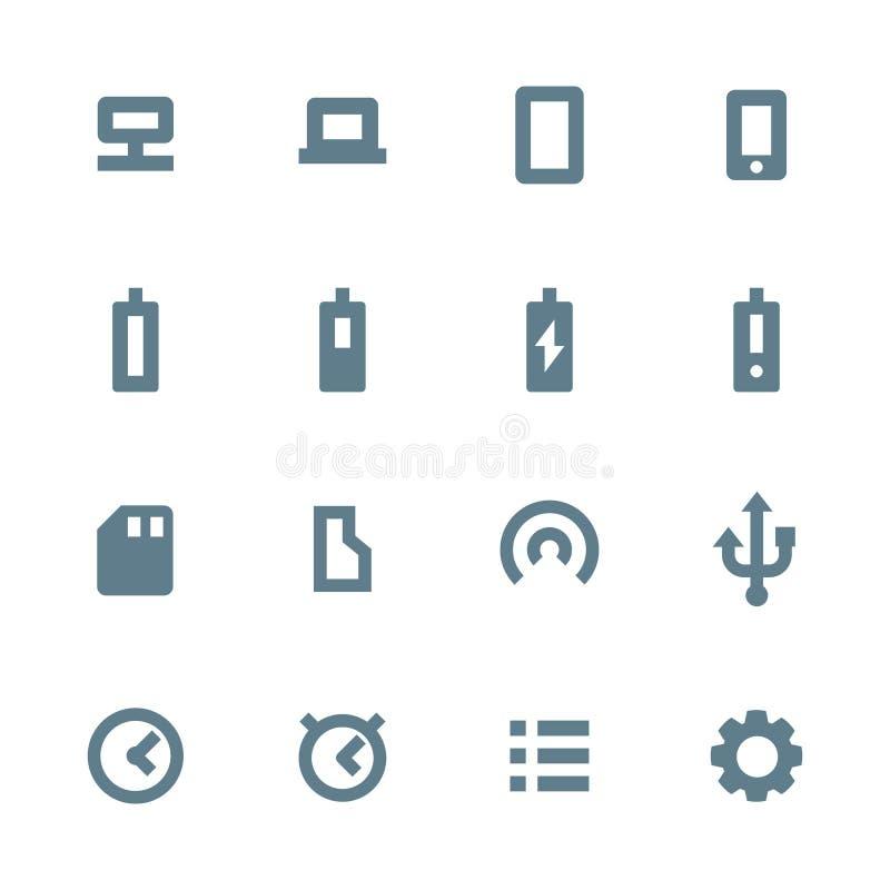 Vários ícones cinzentos contínuos do dispositivo ajustados ilustração royalty free
