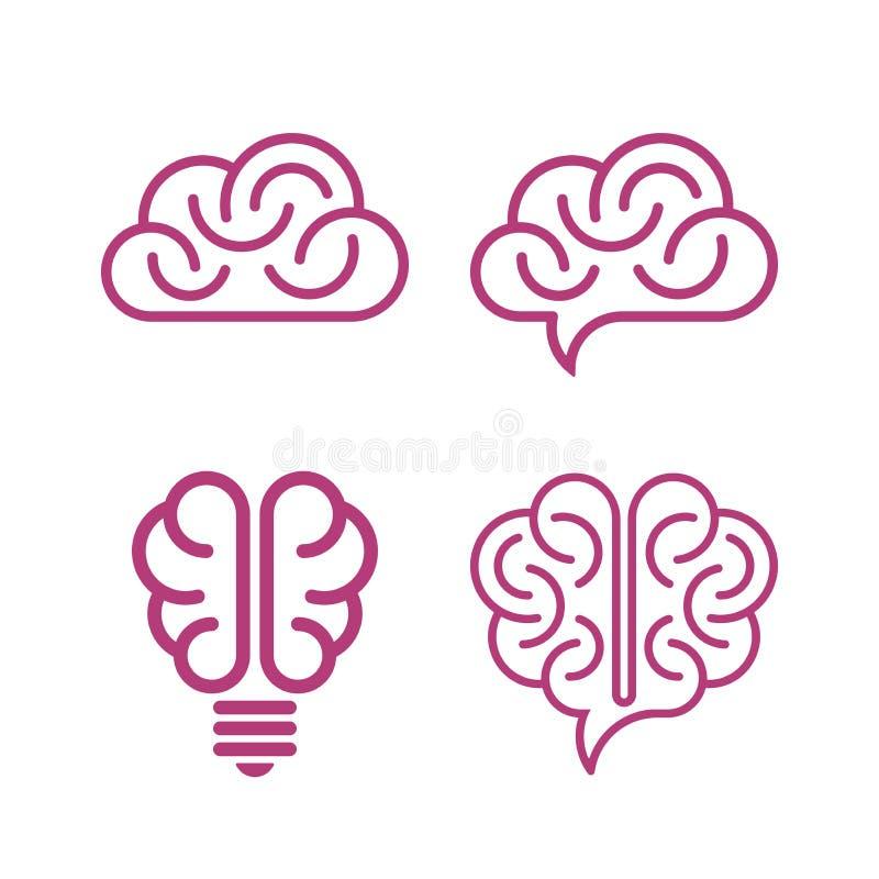 Vários ícones do cérebro ilustração royalty free