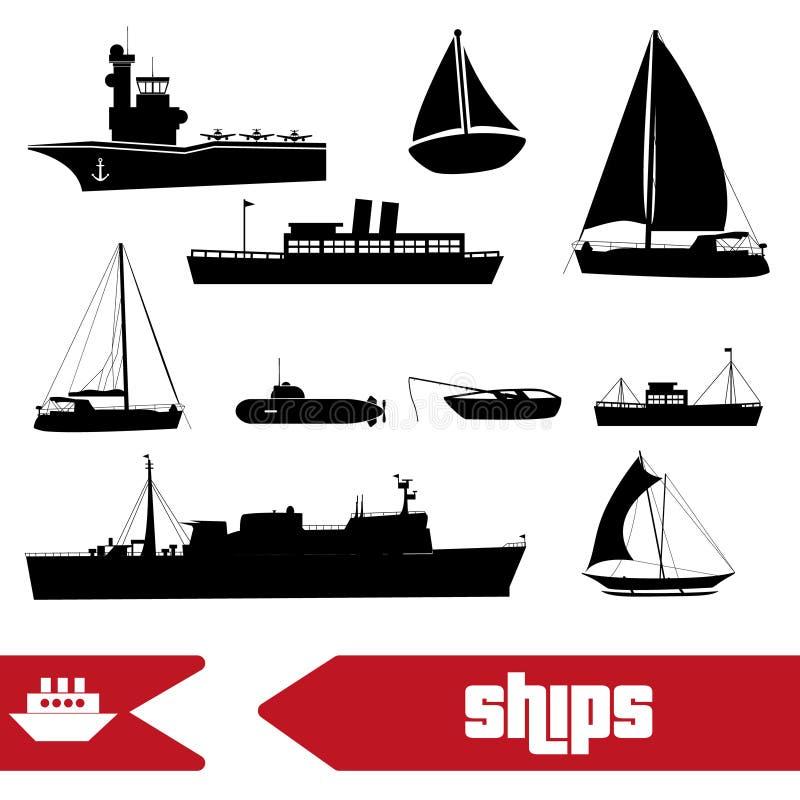 Vários ícones dos barcos da Armada do transporte ajustados ilustração royalty free